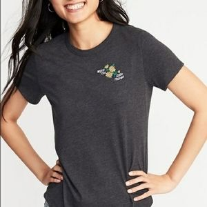B2G1 Old Navy Embroidered Flowers Gray Tee